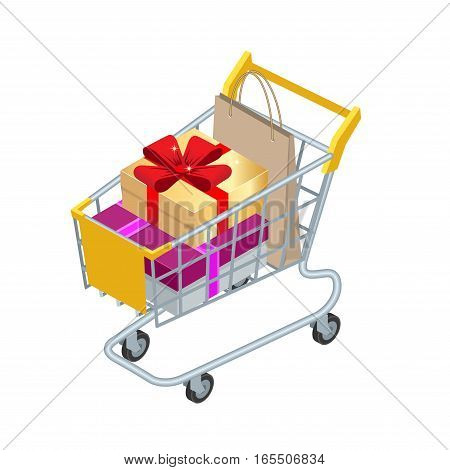 Food basket DISCOUNT or shopping cart with gifts and discounts. Shopping trolley with Big pile of colorful wrapped gift boxes isolated on white. Shopping at supermarket