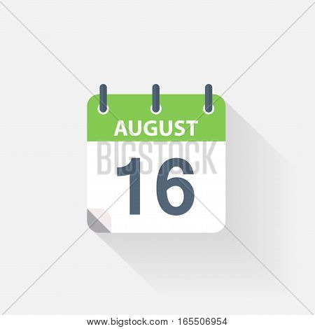 16 august calendar icon on grey background