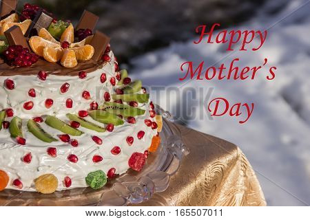 greeting card mother's day (half two-tiered cake)