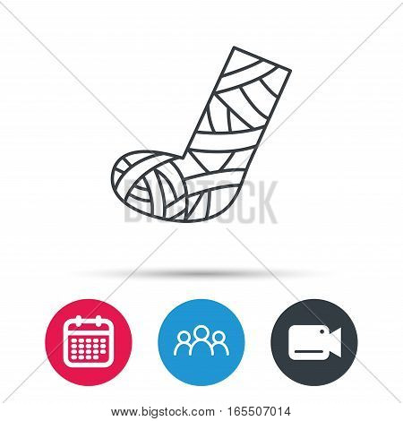 Gypsum or cast foot icon. Broken leg sign. Human recovery medicine symbol. Group of people, video cam and calendar icons. Vector