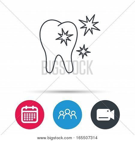 Healthy tooth icon. Dental protection sign. Group of people, video cam and calendar icons. Vector