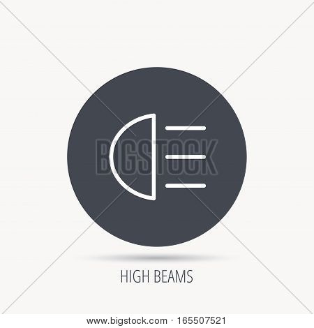 High beams icon. Distant light car sign. Round web button with flat icon. Vector