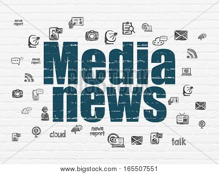 News concept: Painted blue text Media News on White Brick wall background with  Hand Drawn News Icons
