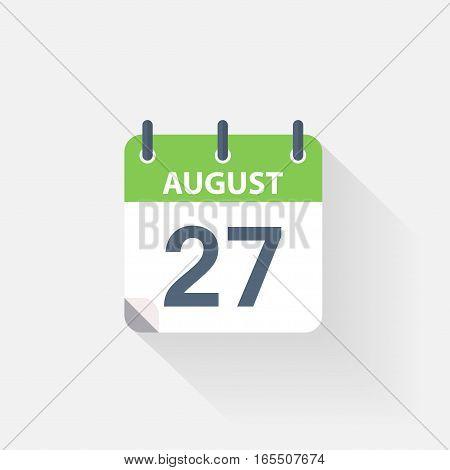 27 august calendar icon on grey background