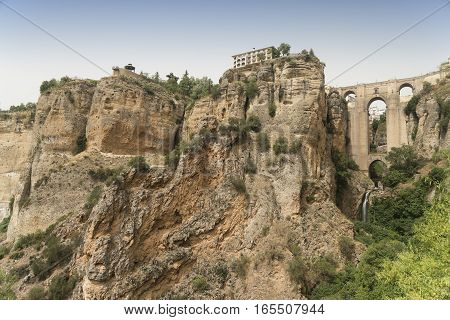 Ronda (Andalucia Spain): view of the historic city over the canyon the famous bridge