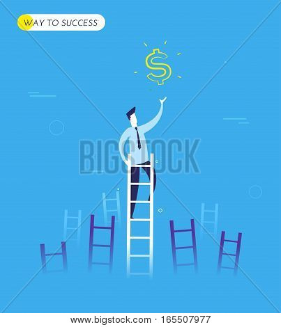 Businessman climbs the stairs to get a dollar. Successful leadership. Vector illustration EPS10. Way to succes