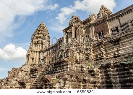 The UNESCO world heritage and landmark bayon temple Angkor Wat in Siem Reap Cambodia.