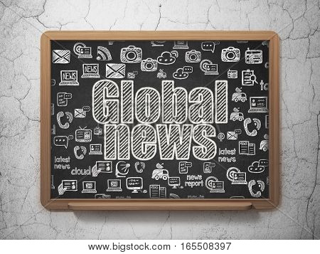 News concept: Chalk White text Global News on School board background with  Hand Drawn News Icons, 3D Rendering