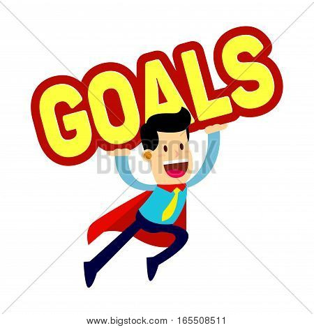 Vector stock of a businessman in red cape flying while carry a goals word