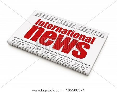 News concept: newspaper headline International News on White background, 3D rendering