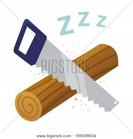Vector stock of log sawing sleeping symbol with leters