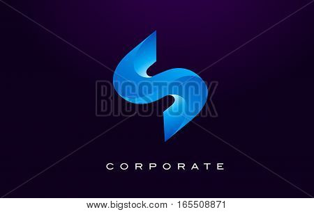 Letter S Logo. S Letter Design Vector with Blue Colors and Flat Design.