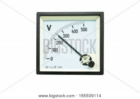 Analog voltmeter in power plant isolated on white background