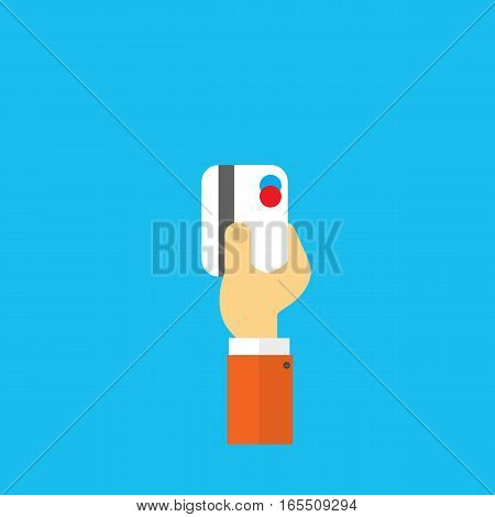 Credit card in hand businessman. Vector illustration .