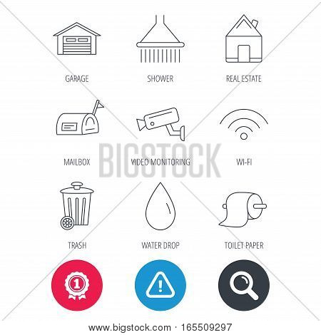 Achievement and search magnifier signs. Wi-fi, video monitoring and real estate icons. Toilet paper, shower and water drop linear signs. Trash, garage flat line icons. Hazard attention icon. Vector