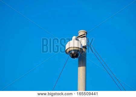 360-degree fisheye dome CCTV is installed on column for security monitoring