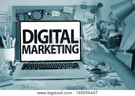Digital marketing business strategy concept in office