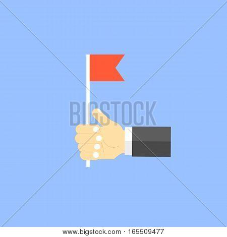 Businessman holding a red flag. Vector illustration .
