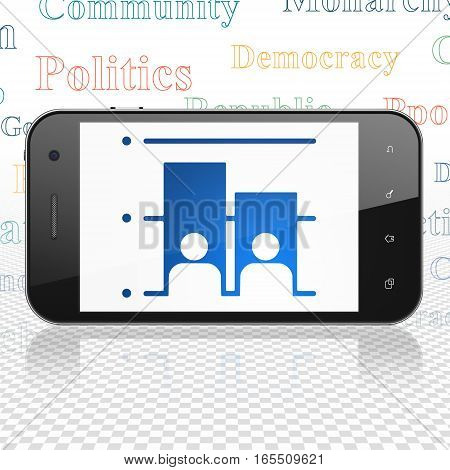 Politics concept: Smartphone with  blue Election icon on display,  Tag Cloud background, 3D rendering
