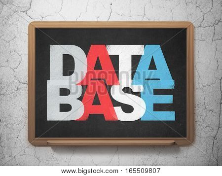 Database concept: Painted multicolor text Database on School board background, 3D Rendering