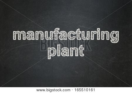 Industry concept: text Manufacturing Plant on Black chalkboard background