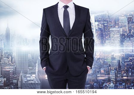 businessman on city background. close up. Research concept