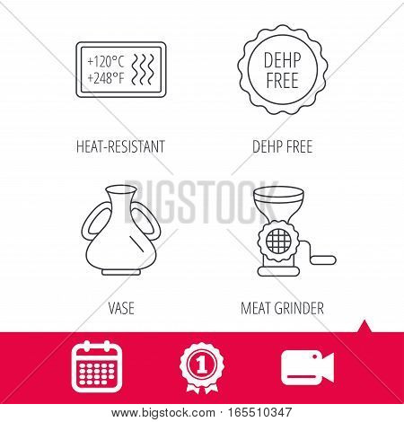 Achievement and video cam signs. Meat grinder, vase and heat-resistant icons. DEHP free linear sign. Calendar icon. Vector