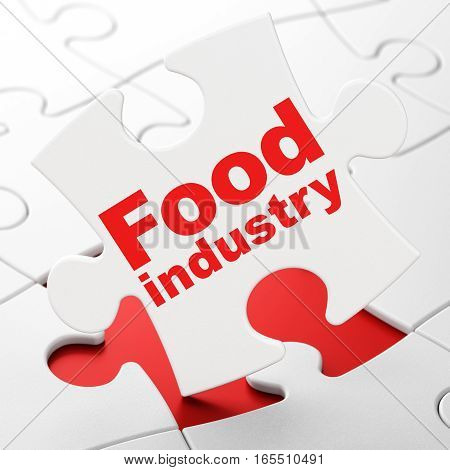 Manufacuring concept: Food Industry on White puzzle pieces background, 3D rendering