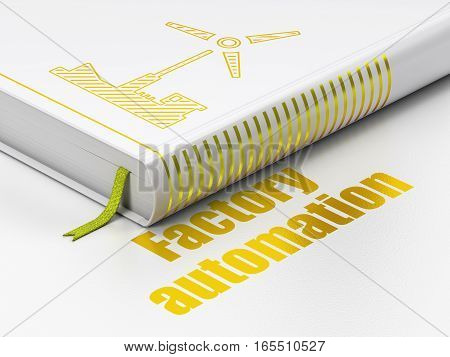 Manufacuring concept: closed book with Gold Windmill icon and text Factory Automation on floor, white background, 3D rendering