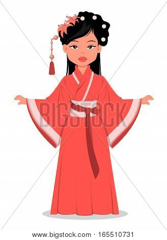 Chinese girl character in beautiful traditional clothes and with flowers in her hair. Vector cartoon illustration.