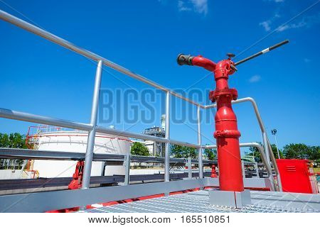 Fire water monitor at fuel oil storage tank in power plant