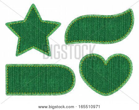 Set of green denim patches with stitch and fringe. Different shapes with place for your text isolated on white background