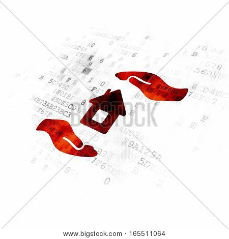 Insurance concept: Pixelated red House And Palm icon on Digital background