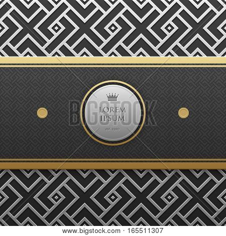 Horizontal Banner Template On Silver/platinum Metallic Background With Seamless Geometric Pattern. E