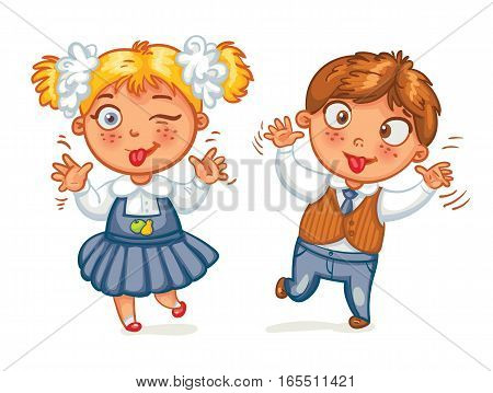 Boys and girls grimace at the camera. Funny cartoon character. Vector illustration. Isolated on white background