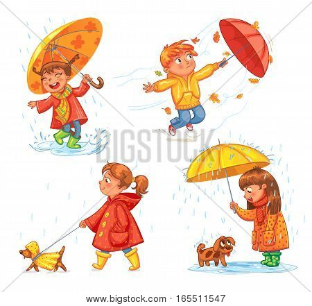 I love autumn. Walk on outdoors. Children under the umbrella. Girl walking a dog. Kid enjoys the rain. Umbrella wind blows. Funny cartoon character. Vector illustration. Isolated on white background