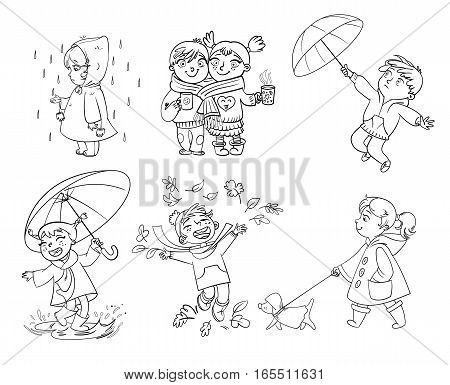I love autumn. Walk on outdoors. Children under the umbrella. Girl in a raincoat raindrop catches. Funny cartoon character. Vector illustration. Coloring book