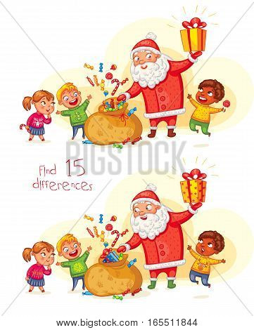 Find 15 differences. Santa Claus brings gifts to children. Merry Christmas and happy New Year. Funny cartoon character. Vector illustration. Isolated on white background