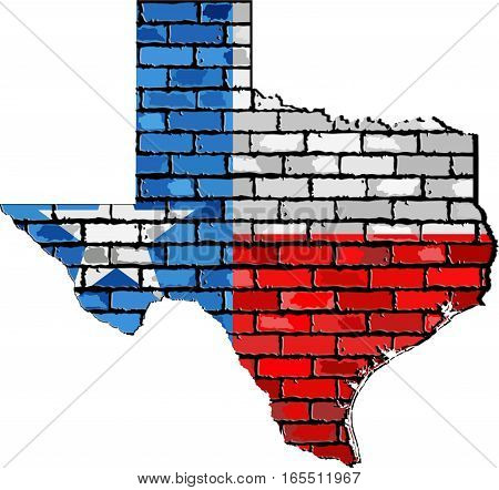 Texas map on a brick wall with effect - 3D Illustration,