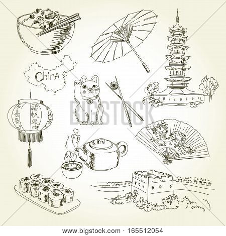Freehand drawing China items on a sheet of exercise book. Longhua Temple - China Tours. Great Wall of China. Vector illustration. Isolated on white background
