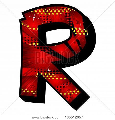 Letter R filled with comic book explosion background.