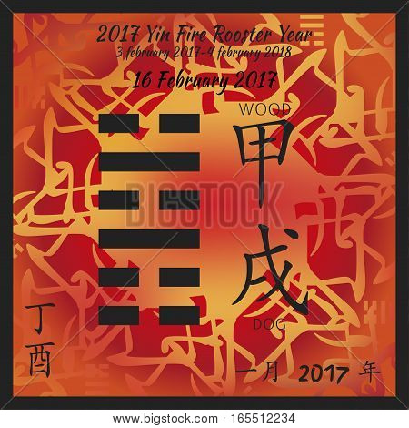 Symbol of i ching hexagram from chinese hieroglyphs. Translation of 12 zodiac feng shui signs hieroglyphs- wood and dog. I ching calendar of 2017 year with feng shi elements.