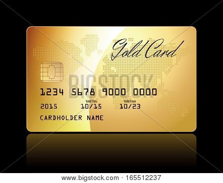 Gold card. Vector gold Credit Card isolated. Conceptual illustration. Vector illustration