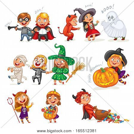 Happy Halloween. Funny little children in colorful costumes. Robber, ghost, mummy, skeleton, witch, vampire, devil. Cartoon character. Vector illustration. Isolated on white background