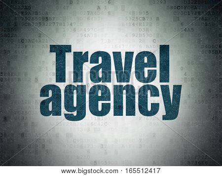 Travel concept: Painted blue word Travel Agency on Digital Data Paper background