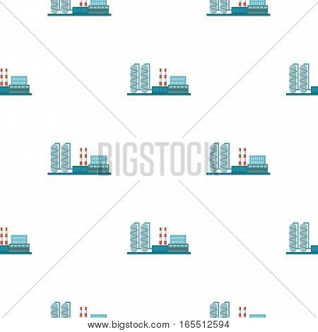 Oil refinery factory icon in cartoon style isolated on white background. Oil industry pattern vector illustration.
