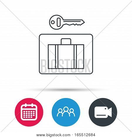 Luggage icon. Baggage security sign. Group of people, video cam and calendar icons. Vector