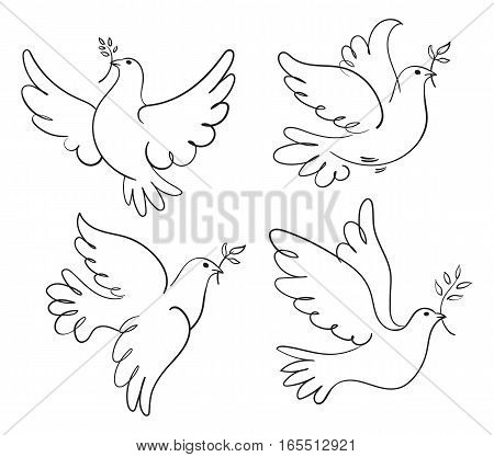 Set of vector symbols dove of peace. Black and white illustration