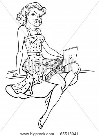 Pin-up girl. Concept for online internet dating. Funny cartoon character. Vector illustration. Coloring book. Black and white