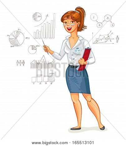 Business woman stands at the blackboard with charts. Funny cartoon character. Vector illustration. Isolated on white background
